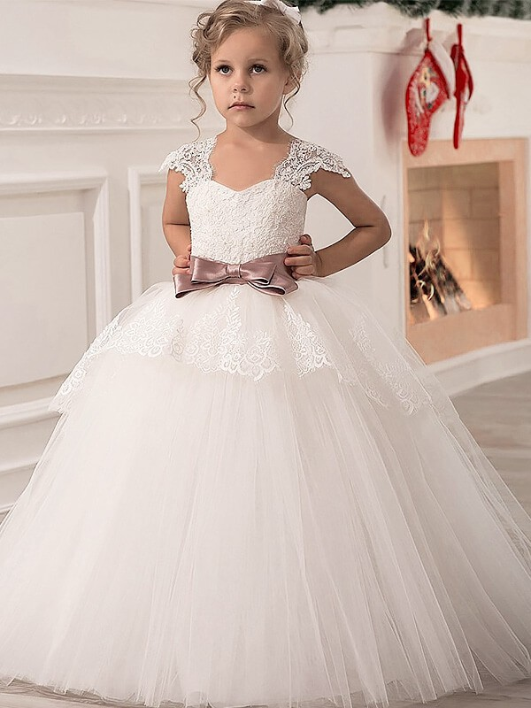 Ball Gown Straps Sleeveless Floor-Length Tulle Flower Girl Dresses with Sash/Ribbon/Belt