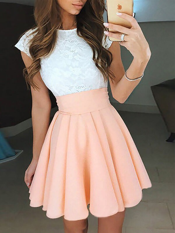 A-Line/Princess Jewel Sleeveless Short/Mini Chiffon Homecoming Dresses with Lace