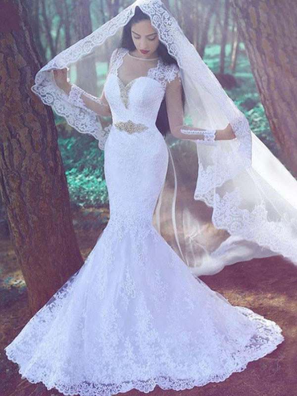 Trumpet/Mermaid Sweetheart Long Sleeves Court Train Lace Wedding Dresses with Applique
