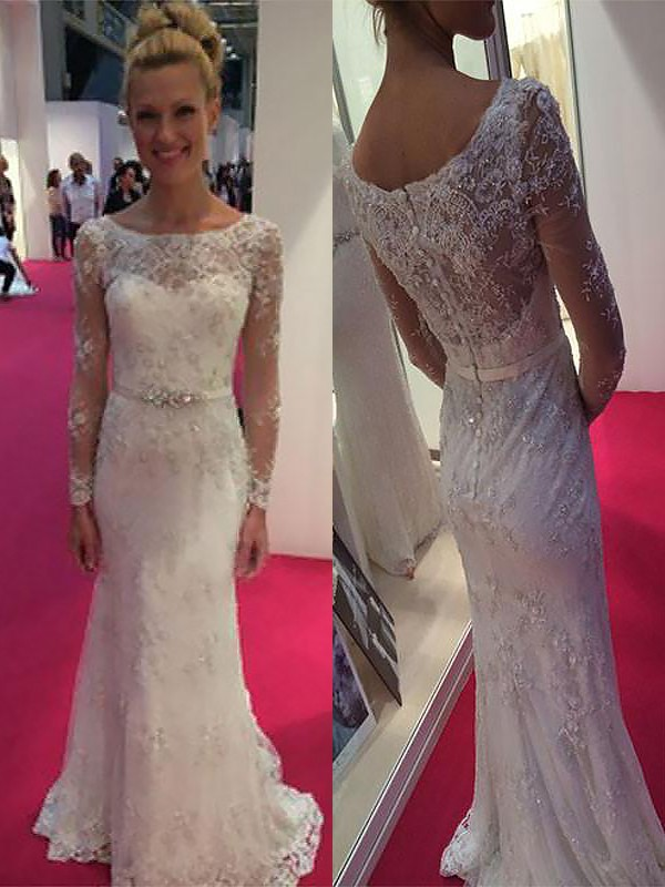 Sheath/Column Scoop Long Sleeves Sweep/Brush Train Chiffon Wedding Dresses with Lace