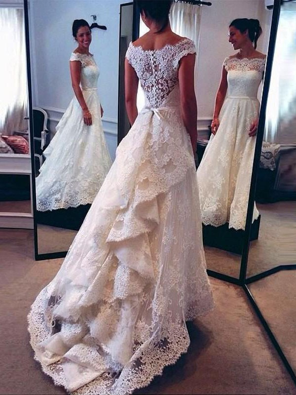 A-Line/Princess Scoop Sleeveless Court Train Lace Wedding Dresses