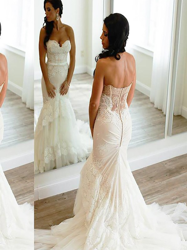 Trumpet/Mermaid Sweetheart Sleeveless Court Train Tulle Wedding Dresses