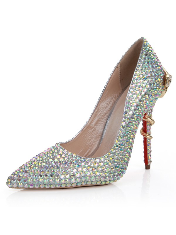 Sheepskin Stiletto Heel Closed Toe With Rhinestone High Heels
