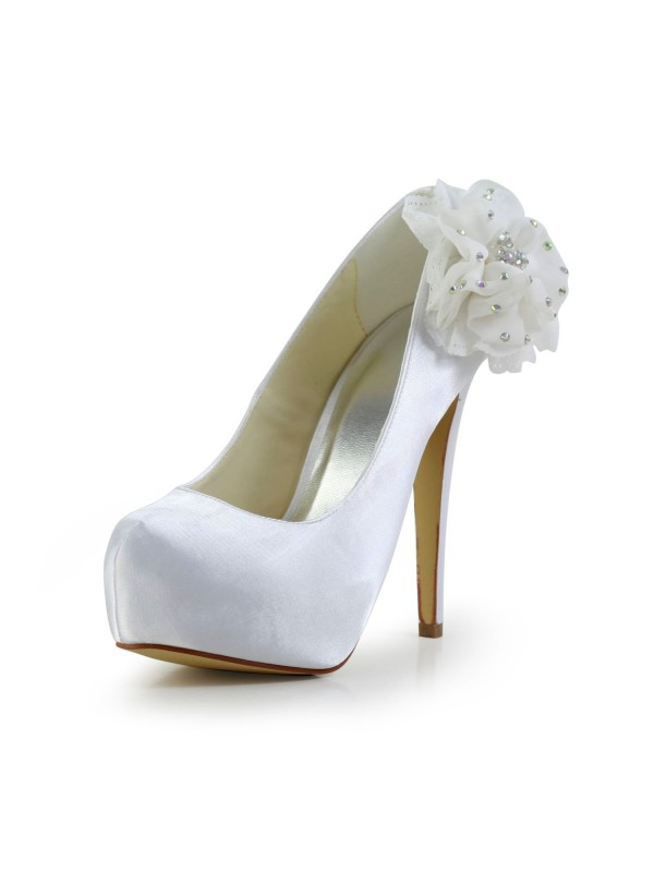 Satin Stiletto Heel Closed Toe Platform White Wedding Shoes With Rhinestone