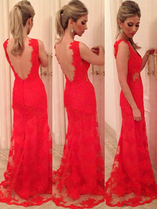Trumpet/Mermaid V-neck Sleeveless Floor-Length Lace Dresses with Applique