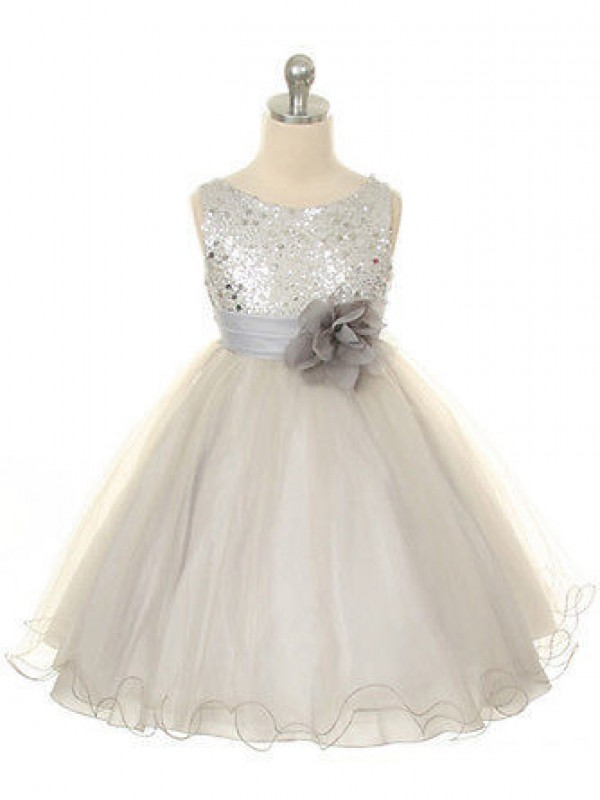 Ball Gown Jewel Sleeveless Tea-Length Organza Flower Girl Dresses with Hand-Made Flower