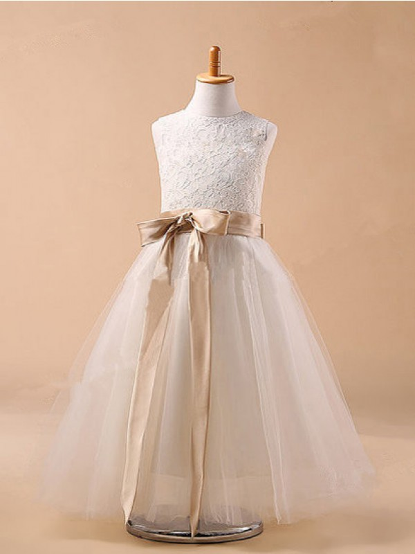Ball Gown Jewel Sleeveless Ankle-Length Tulle Flower Girl Dresses with Bowknot