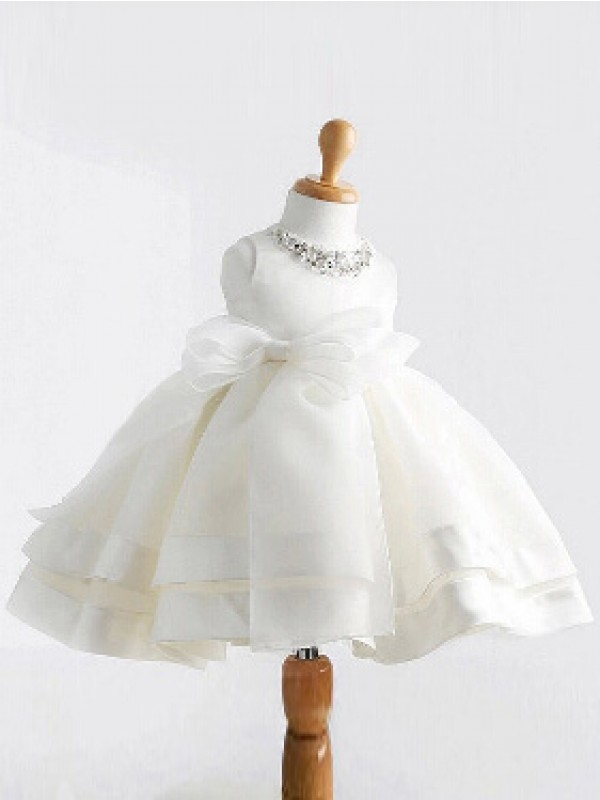 Ball Gown Jewel Sleeveless Tea-Length Satin Flower Girl Dresses with Bowknot