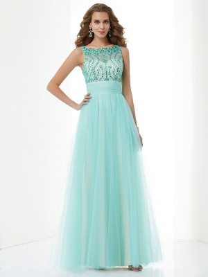 A-Line/Princess Bateau Sleeveless Floor-Length Elastic Woven Satin Net Dresses with Beading