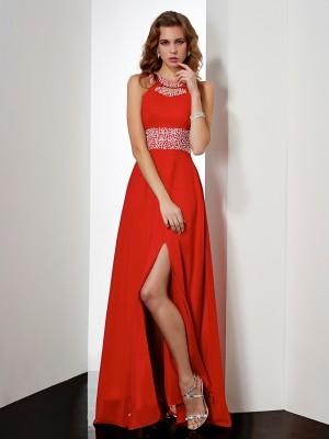 Empire Jewel Sleeveless Floor-Length Chiffon Dresses with Acrylic Jewels