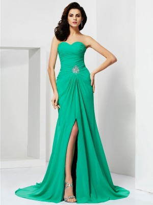 Sheath/Column Sweetheart Sleeveless Sweep/Brush Train Chiffon Dresses with Beading