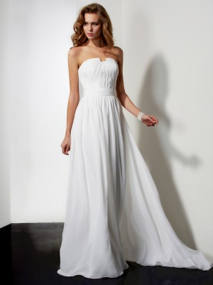 A-Line/Princess Strapless Sleeveless Floor-Length Chiffon Dresses with Ruffles Pleats