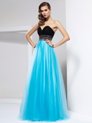 A-Line/Princess Sweetheart Sleeveless Floor-Length Net Dresses with Sash/Ribbon/Belt