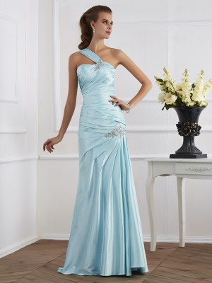 Trumpet/Mermaid One-Shoulder Sleeveless Floor-Length Elastic Woven Satin Ruched Dresses