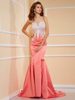 Sheath/Column Jewel Sleeveless Sweep/Brush Train Satin Dresses with Beading