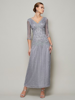 Sheath/Column V-neck 1/2 Sleeves Ankle-Length Elastic Woven Satin Mother of the Bride Dresses with Beading