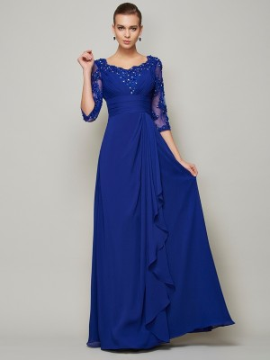 A-Line/Princess Scoop 3/4 Sleeves Floor-Length Chiffon Mother of the Bride Dresses with Lace