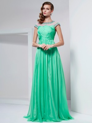 A-Line/Princess High Neck Short Sleeves Floor-Length Chiffon Dresses with Beading Ruffles