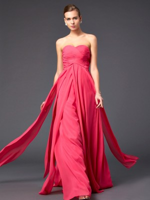 Sheath/Column Sweetheart Sleeveless Sweep/Brush Train Chiffon Dresses with Ruffles