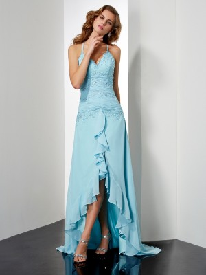 A-Line/Princess Spaghetti Straps Sleeveless Asymmetrical Chiffon Dresses with Beading Crystal