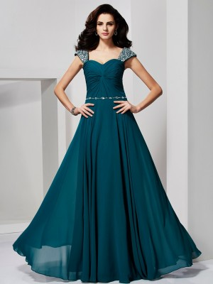 A-Line/Princess Sweetheart Off-the-Shoulder Sleeveless Floor-Length Chiffon Dresses with Beading