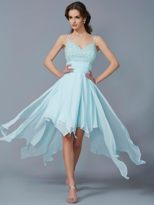 A-Line/Princess Spaghetti Straps Sleeveless Asymmetrical Chiffon Dresses with Beading