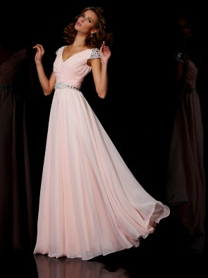 A-Line/Princess V-neck Short Sleeves Floor-Length Chiffon Dresses with Ruffles