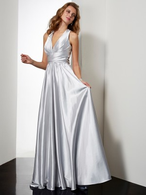 Sheath/Column Halter Sleeveless Floor-Length Elastic Woven Satin Dresses with Pleats