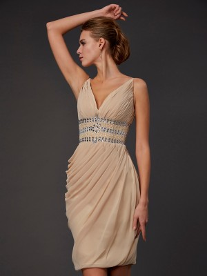 Sheath/Column V-neck Sleeveless Short/Mini Chiffon Dresses with Beading