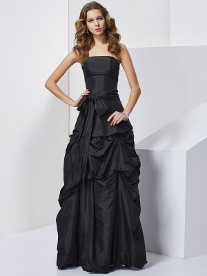 Sheath/Column Strapless Sleeveless Floor-Length Taffeta Dresses with Bowknot