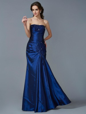 Trumpet/Mermaid Strapless Sleeveless Floor-Length Taffeta Dresses with Applique