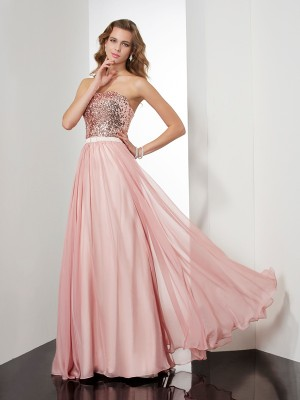 A-Line/Princess Strapless Sleeveless Floor-Length Chiffon Dresses with Paillette