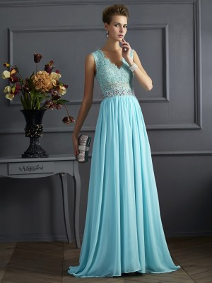 A-Line/Princess Straps Sleeveless Sweep/Brush Train Chiffon Dresses with Beading Lace
