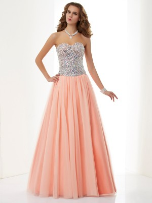 A-Line/Princess Sweetheart Sleeveless Floor-Length Elastic Woven Satin Net Dresses with Beading