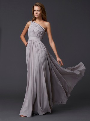 A-Line/Princess One-Shoulder Sleeveless Floor-Length Chiffon Dresses with Pleats