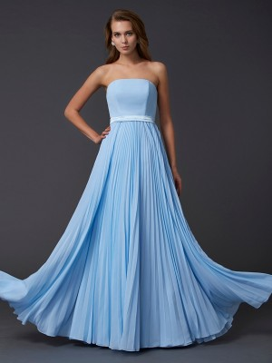 A-Line/Princess Strapless Sleeveless Floor-Length Chiffon Ruched Dresses