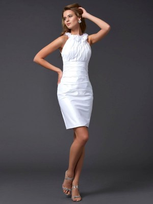 Sheath/Column High Neck Sleeveless Short/Mini Taffeta Dresses with Hand-Made Flower