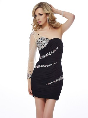 Sheath/Column One-Shoulder Sleeveless Short/Mini Chiffon Net Dresses with Beading