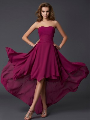 A-Line/Princess Sweetheart Sleeveless Asymmetrical Chiffon Dresses with Pleats