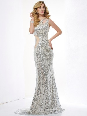 Trumpet/Mermaid One-Shoulder Sleeveless Sweep/Brush Train Lace Sequins Dresses with Lace Paillette