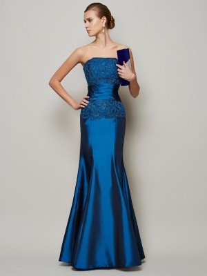 Trumpet/Mermaid Strapless Sleeveless Floor-Length Taffeta Dresses with Beading Applique