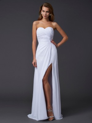 Sheath/Column Sweetheart Sleeveless Floor-Length Chiffon Dresses with Pleats