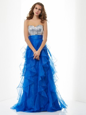 A-Line/Princess Sweetheart Sleeveless Floor-Length Satin Tulle Dresses with Paillette