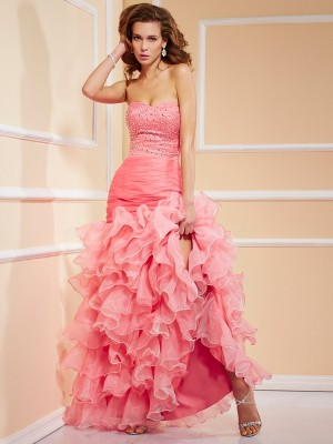 Trumpet/Mermaid Sweetheart Sleeveless Asymmetrical Organza Dresses with Beading Ruffles