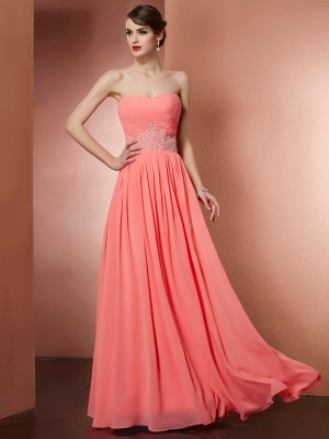 A-Line/Princess Strapless Sleeveless Floor-Length Chiffon Dresses with Beading Pleats