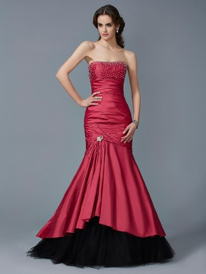 Trumpet/Mermaid Strapless Sleeveless Floor-Length Taffeta Net Dresses with Beading