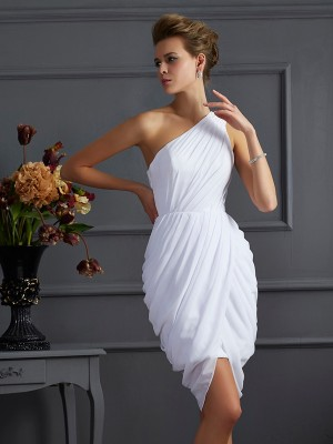 Sheath/Column One-Shoulder Sleeveless Short/Mini Chiffon Dresses with Pleats