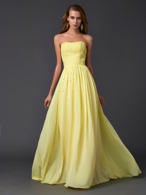 A-Line/Princess Strapless Sleeveless Sweep/Brush Train Chiffon Dresses with Beading Pleats