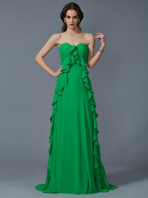 A-Line/Princess Sweetheart Sleeveless Sweep/Brush Train Chiffon Dresses with Ruffles
