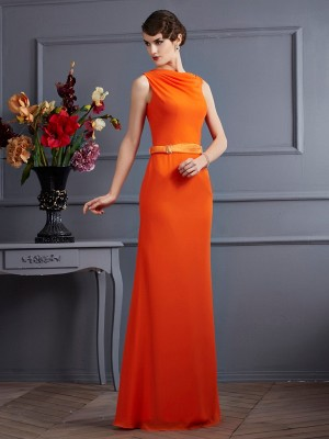 Sheath/Column High Neck Sleeveless Floor-Length Chiffon Dresses with Sash/Ribbon/Belt